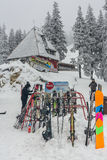 Skiers at Postavaru chalet Stock Photos