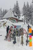Skiers at Postavaru chalet Stock Photos