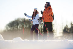Skiers at resort Royalty Free Stock Images