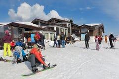 Skiers resort. SOCHI, RUSSIA - MAR 26, 2014: The highest height Rosa Khutor Alpine ski Resort in Krasnaya Polyana - popular center of skiing and snowboard, venue Royalty Free Stock Photography