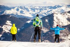 Skiers are ridding down from the top of mount, Bakuriani, Georgia, January 2019 stock image