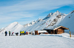 Skiers on the Rothorn, swiss Alps Royalty Free Stock Photography