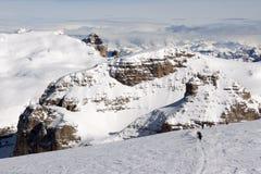 Skiers in Sass Pardoi Plato Royalty Free Stock Photos
