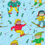 Skiers seamless Royalty Free Stock Images