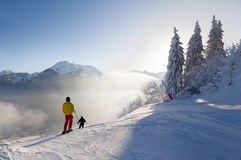 Skiers Setting off on a Piste in Morzine, France Stock Image