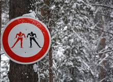 Skiers sign Stock Photo