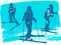 Skiers silhouettes Set. Royalty Free Stock Image