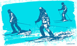 Skiers silhouettes Set. Sport vector illustration Stock Images