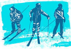 Skiers silhouettes Set. Sport vector illustration Royalty Free Stock Photos