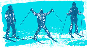 Skiers silhouettes Set. Sport vector illustration Stock Photography