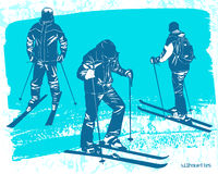 Skiers silhouettes Set. Sport vector illustration Royalty Free Stock Image