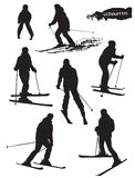 Skiers silhouettes Set Royalty Free Stock Photo