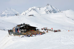 Skiers in a ski area Stock Photography