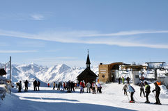 Skiers in a ski area Stock Images