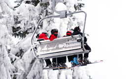 Skiers on ski-lift Royalty Free Stock Photos