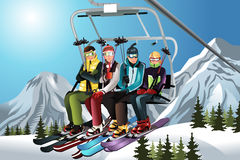 Skiers on the ski lift. A vector illustration of a group of skiers sitting on a ski lift royalty free illustration