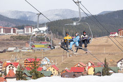 Skiers on the ski lift. Stock Images