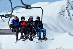 Skiers in ski lift Stock Photo
