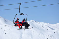 Skiers in ski lift Stock Photos