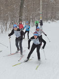 Skiers on the ski race Royalty Free Stock Photography