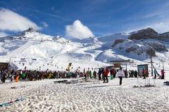 Skiers at ski resort Stock Images