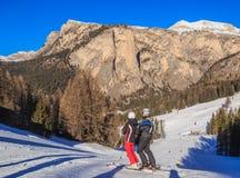 Skiers at Ski resort of Selva di Val Gardena Stock Images