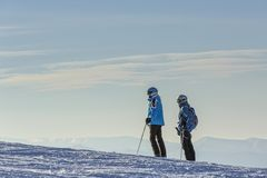 Skiers on ski slope Royalty Free Stock Images