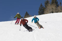 Skiers Skiing Downhill Royalty Free Stock Photos