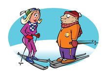 Skiers on a slope Royalty Free Stock Photography