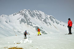 Skiers on the slope in the Austrian Alps Royalty Free Stock Images