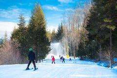 Skiers on the slope in Bansko, Bulgaria Stock Image