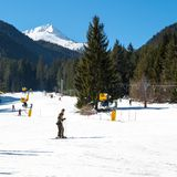 Skiers on the slope in Bansko, Bulgaria Stock Image
