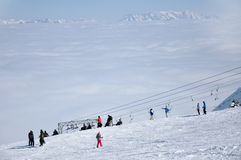 Skiers on the slope in Kitzsteinhorn ski resort, Austria Stock Images
