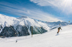 Skiers on the slope of  Ski resort Livigno Royalty Free Stock Image