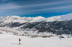 Skiers on the slope of  Ski resort Livigno Royalty Free Stock Photos