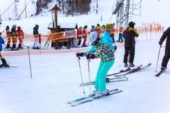 Skiers on the slope in Strbske Pleso ski resort. Slovakia. Stock Photos