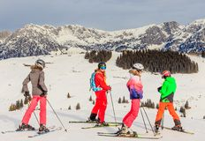 Skiers on the slopes of the ski resort Brixen im Thale, Tyrol Stock Photos