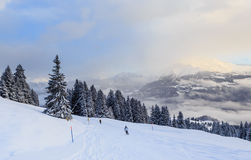 Skiers on the slopes of the ski resort of Laax. Switzerland Stock Image