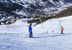 Skiers on the slopes of the ski resort of Meribel Stock Photos