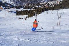 Skiers on the slopes of the ski resort of Meribel Stock Images