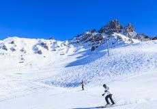 Skiers on the slopes of the ski resort of Meribel Royalty Free Stock Photo