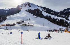 Skiers on the slopes of the ski resort of Soll, Tyrol Royalty Free Stock Photos