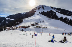 Skiers on the slopes of the ski resort of Soll, Tyrol Royalty Free Stock Photography