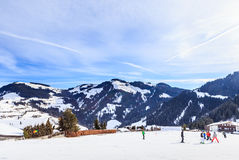Skiers on the slopes of the ski resort of Soll, Tyrol Stock Photos