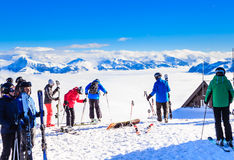 Skiers on the slopes of the ski resort of Soll, Tyrol Royalty Free Stock Image
