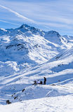 Skiers on the slopes of the ski resort of  Val Thorens. Royalty Free Stock Photos
