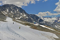 Skiers on the slopes at Whistler Mountain. Royalty Free Stock Photo