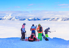 Skiers and snowboarders on the slopes of the ski resort Soll Royalty Free Stock Photo