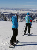 Skiers and snowboarders on top of Storm Peak Stock Photography