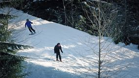 Skiers, Snowmobile And Snowboarders Pass On Slope stock video footage